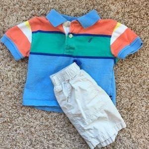 Nautica 18m boys polo and khaki shorts set.